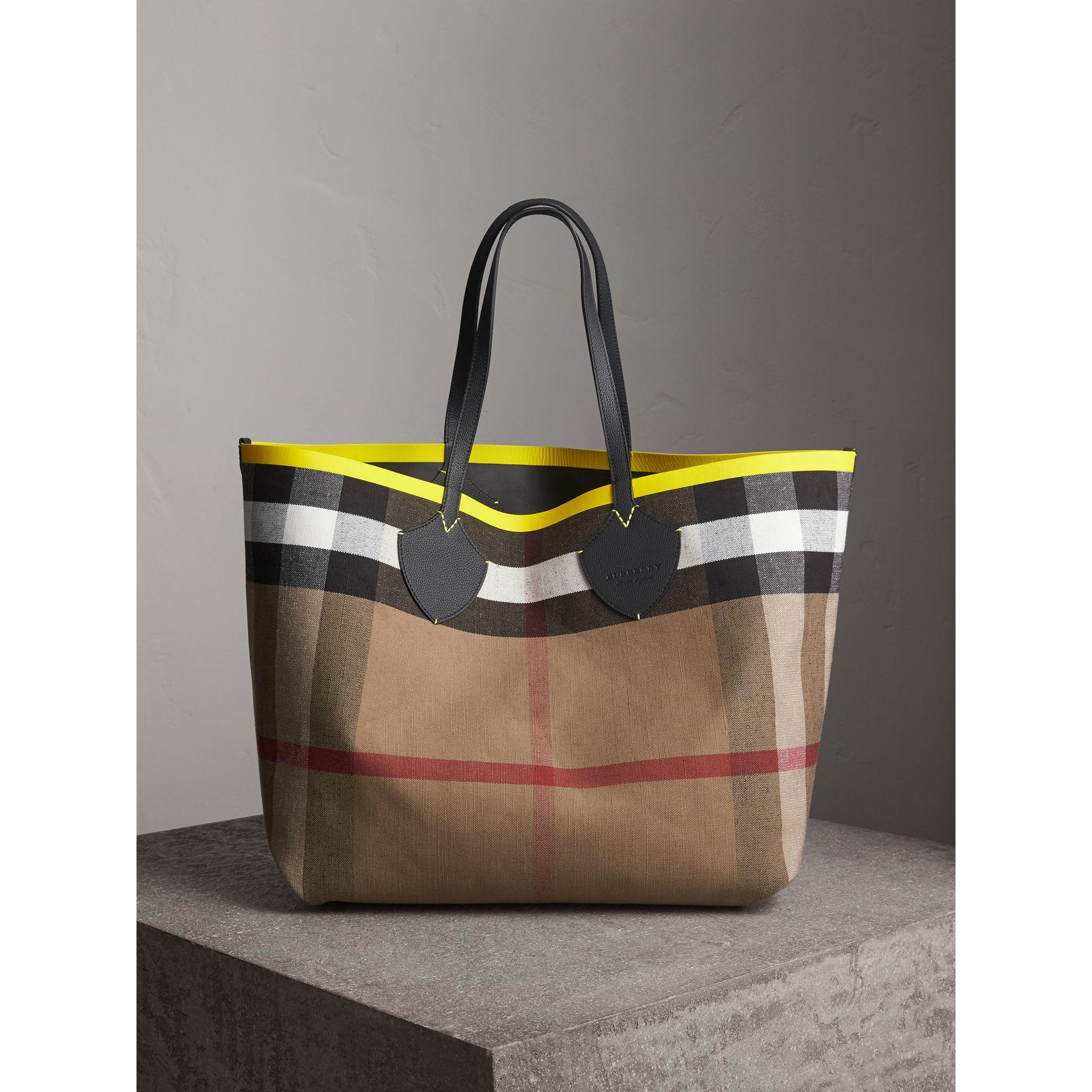 c208d9af8900 Burberry The Giant Reversible Tote In Canvas Check And Leather In  Black Neon Yellow