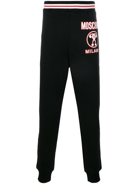 Moschino Double Question Mark Track Pants In A2555 Black