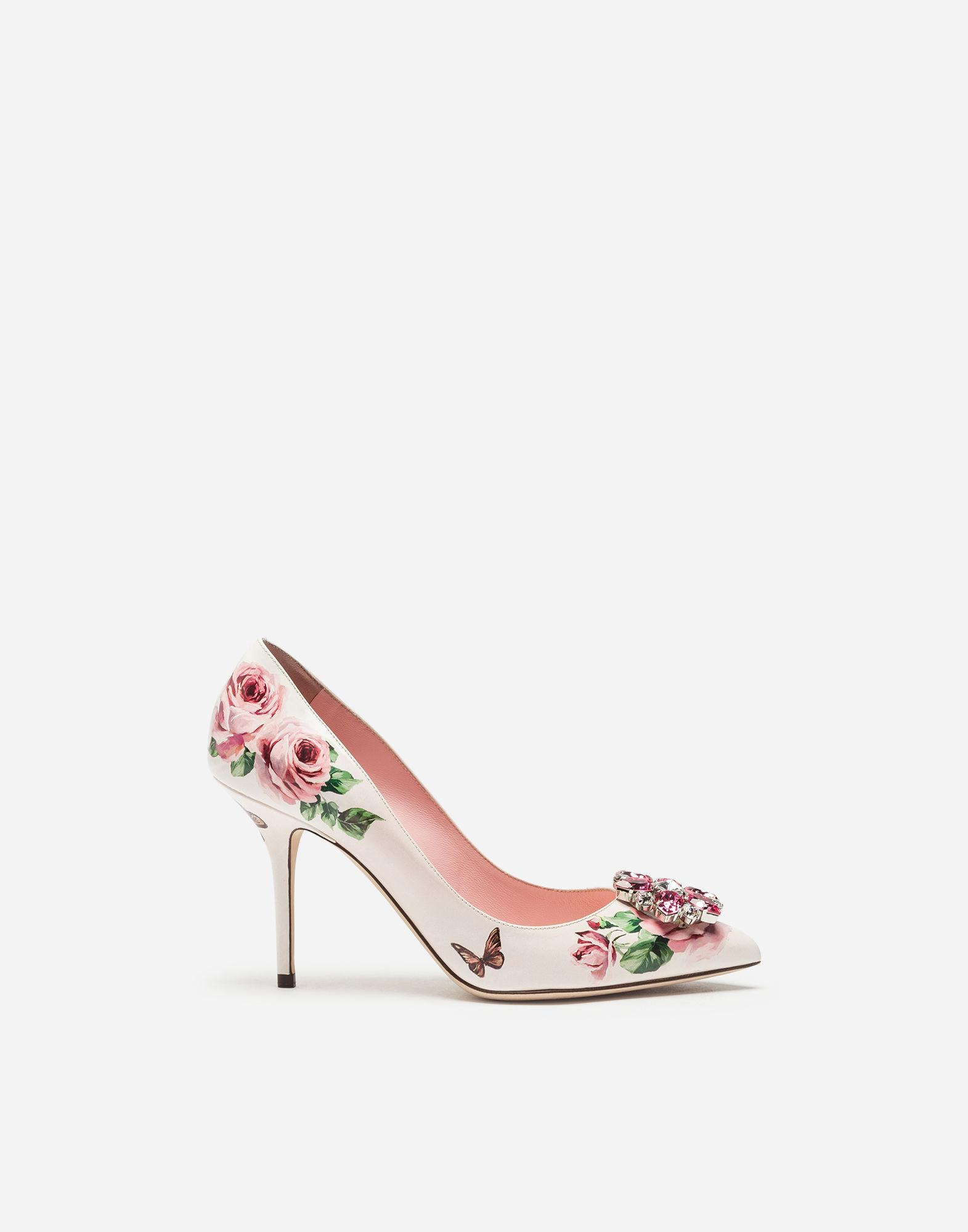 25ea12473283 Dolce   Gabbana Pumps In Printed Patent Leather With Brooch In White  Pink  Floral