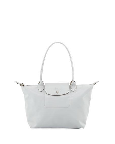 4d307c221cc1 Longchamp Le Pliage Neo Medium Nylon Shoulder Tote Bag In Silver ...