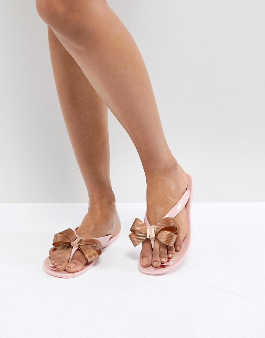 947909498062 Ted Baker Glamari Bow-Detail Metallic Jelly Sandals In Pink