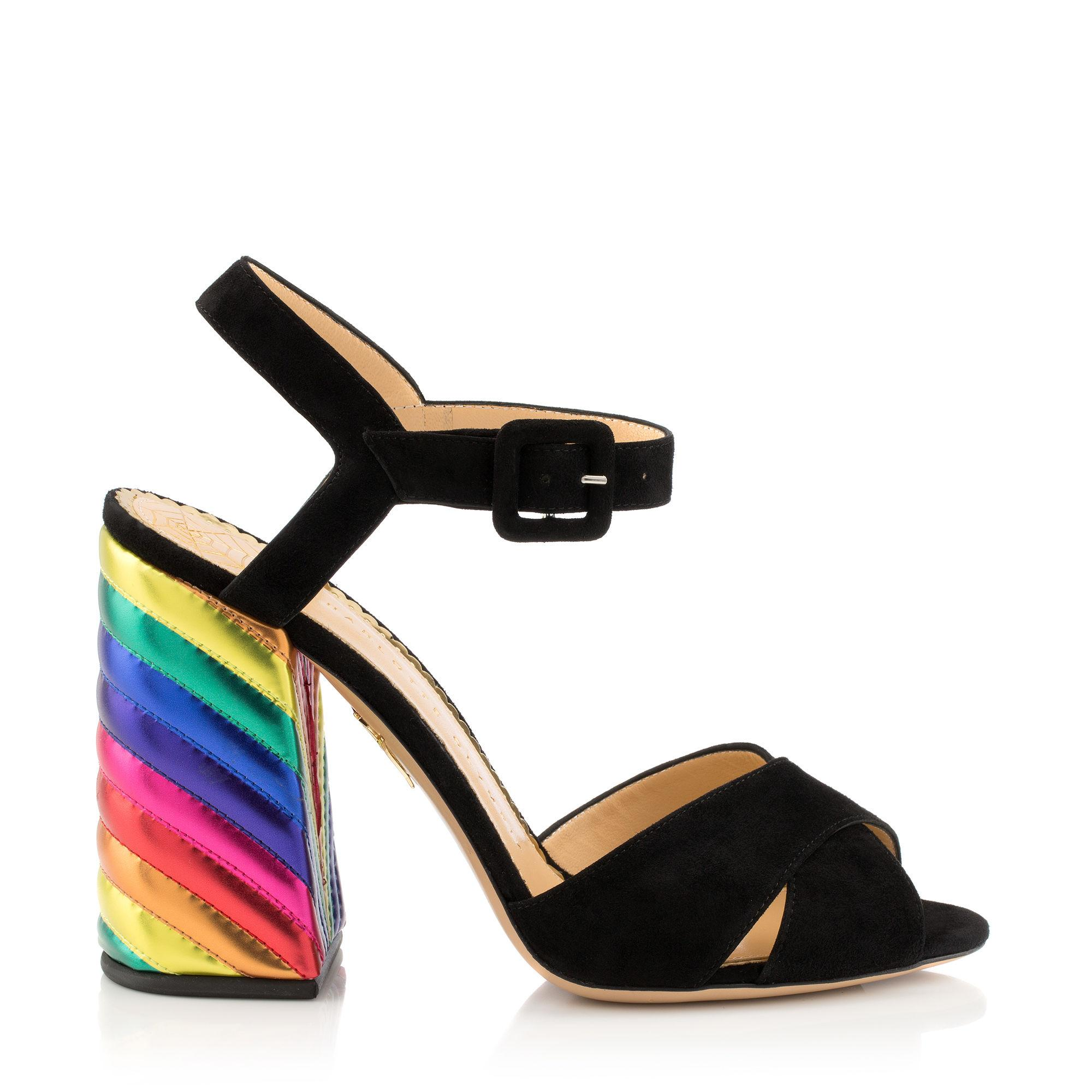 5d1d4895323 Charlotte Olympia Emma Black Suede And Rainbow Patent Leather High Heel  Sandals