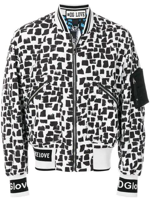 Dolce & Gabbana Reversible Monochrome Bomber Jacket In White