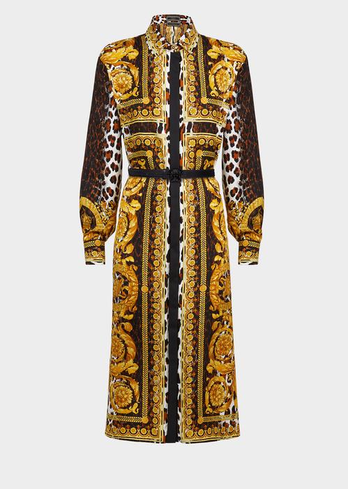 ad8698e1ea7 Versace Long-Sleeve Silk Twill Baroque-Print Midi Dress In Black ...