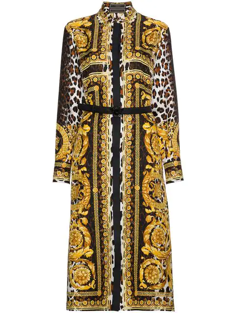 0afb384e Versace Long-Sleeve Silk Twill Baroque-Print Midi Dress In Multicolour