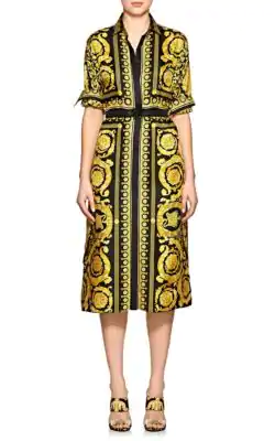 c1f15cd0 Versace Long-Sleeve Silk Twill Baroque-Print Midi Dress In Black ...