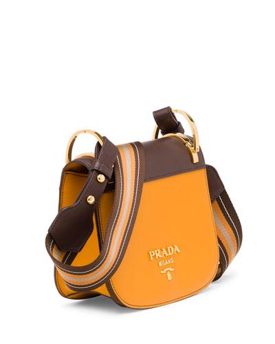 a92a133a679b9c Prada PionniÈRe Canvas-Trimmed Two-Tone Leather Shoulder Bag In Ocra+Cocco