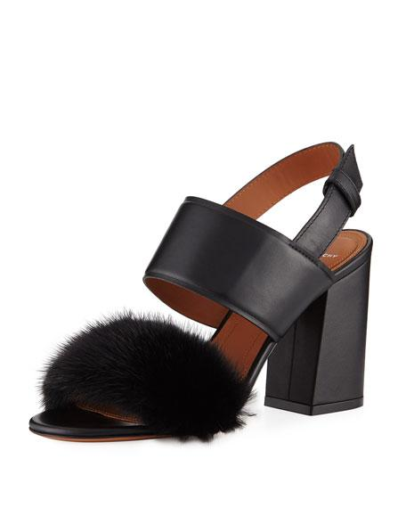 Givenchy Leather & Mink Fur Slingback Sandals In Black