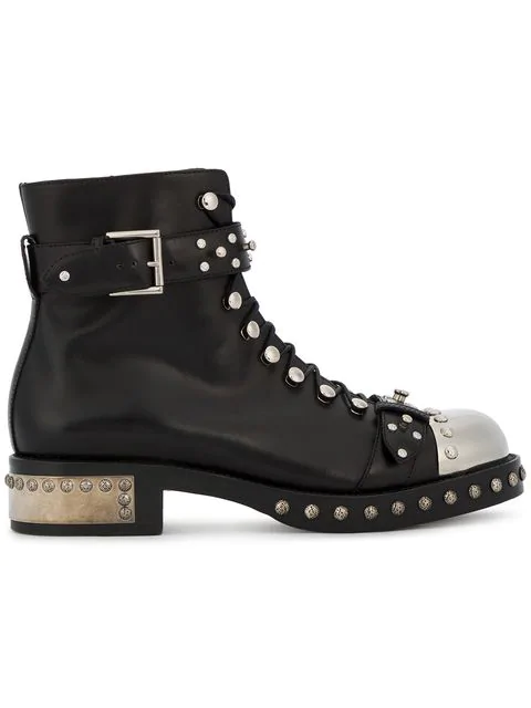 Alexander Mcqueen Stud-Embellished Leather Ankle Boots In Black