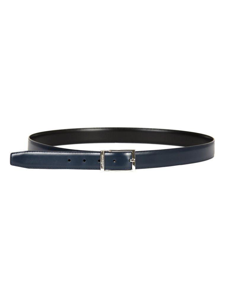 Salvatore Ferragamo Adjustable Reversible Belt In Blu