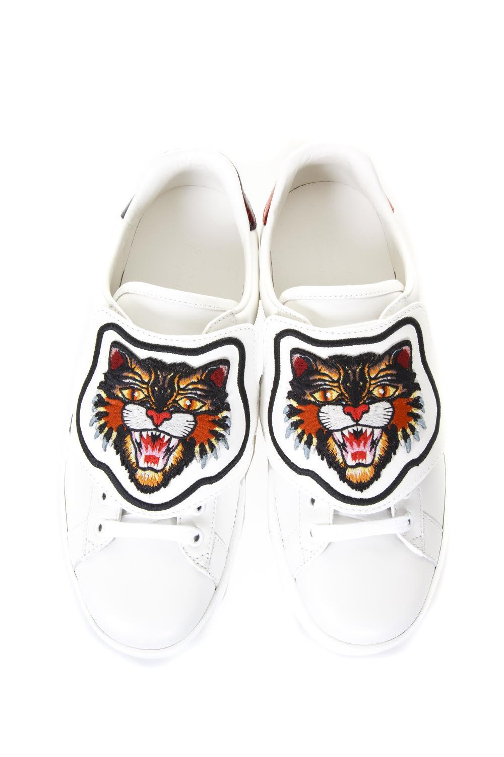 ec8639e7acf Gucci Ace Sneakers With Removable Patch In Bianco