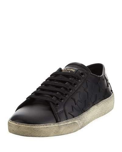 Saint Laurent Low-Top Leather Star Sneakers In Black