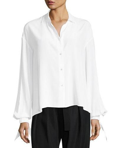 fe4366f871c7dc Vince Button-Front Tie-Sleeve Silk Blouse In Optic White