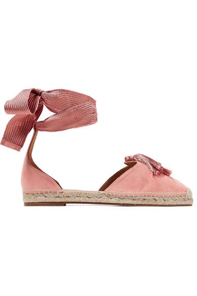 Aquazzura Love Tasseled Suede Espadrilles In Baby Pink