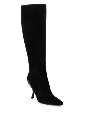 Roger Vivier Suede Knee High Boots In Black