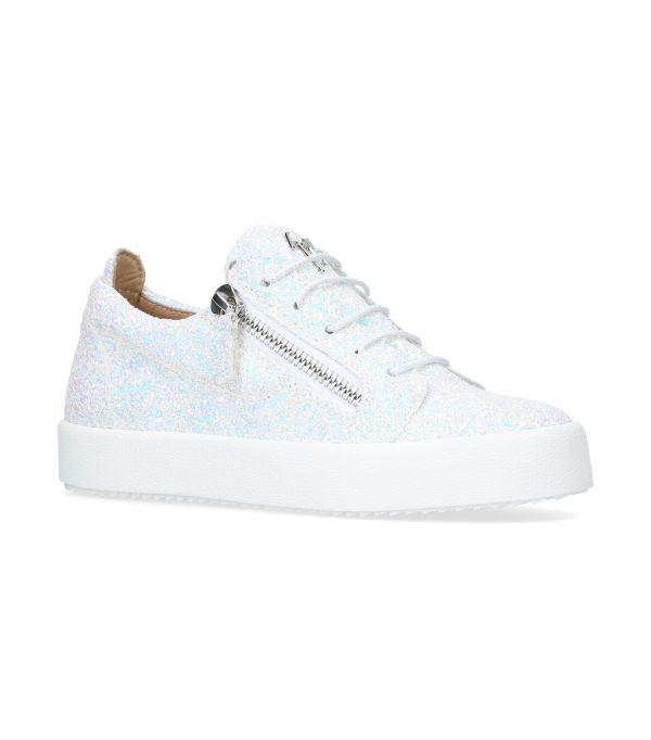 Giuseppe Zanotti Glitter Cheryl Low-top Sneakers In White