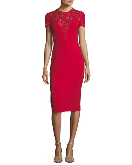 Jenny Packham Jewel-Neck Short-Sleeve Crepe Cocktail Dress With Lace In Dark Red