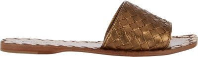 Bottega Veneta Metallic Intrecciato Leather Slides