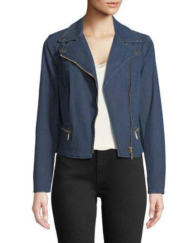 Michael Michael Kors Denim Moto Jacket In Blue