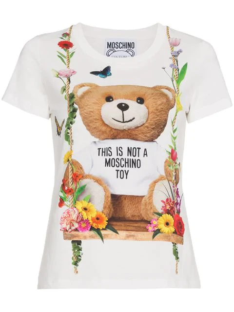 725c9964af7 Slim Fit Bear Printed Jersey T-Shirt in White
