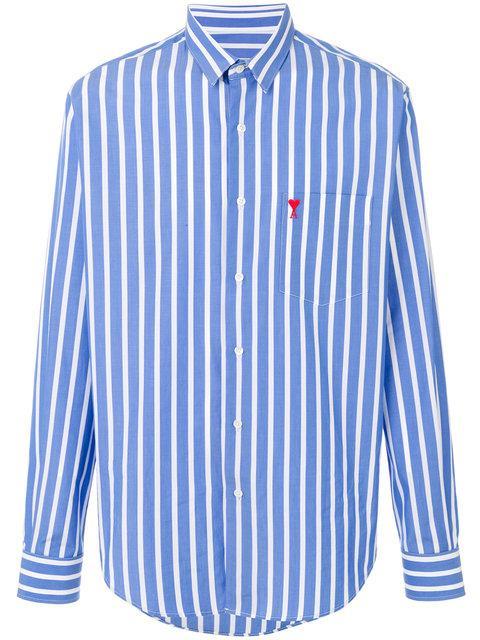 Ami Alexandre Mattiussi Striped Shirt In Blue