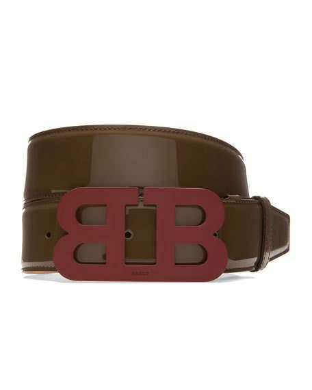 Bally Mirror B Leather Belt, Taupe