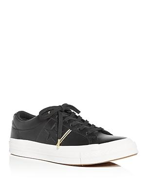 67848b7c6465 Converse Women s One Star Leather Lace Up Sneakers In Black  Gold ...