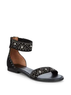 Frye Carson Deco Zip Leather Ankle-strap Sandals In Black