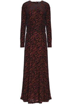 ef070ef6 Ganni Woman Flocked Zebra-Print Jersey Maxi Dress Brown | ModeSens