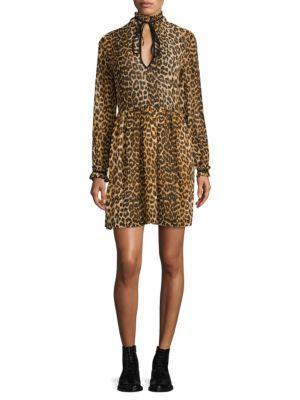 Ganni Fairfax Georgette Short Dress In Leopard