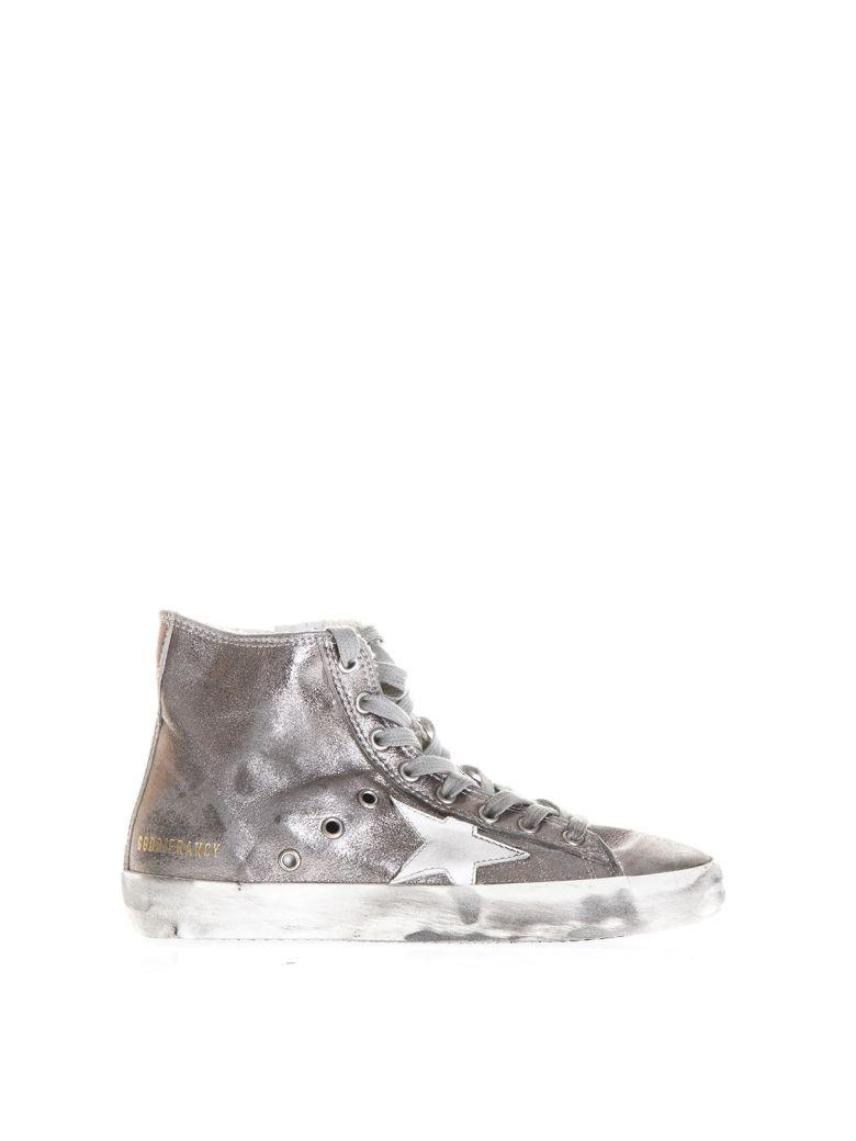 Golden Goose Metallic Leather High-Top Sneakers In Silver