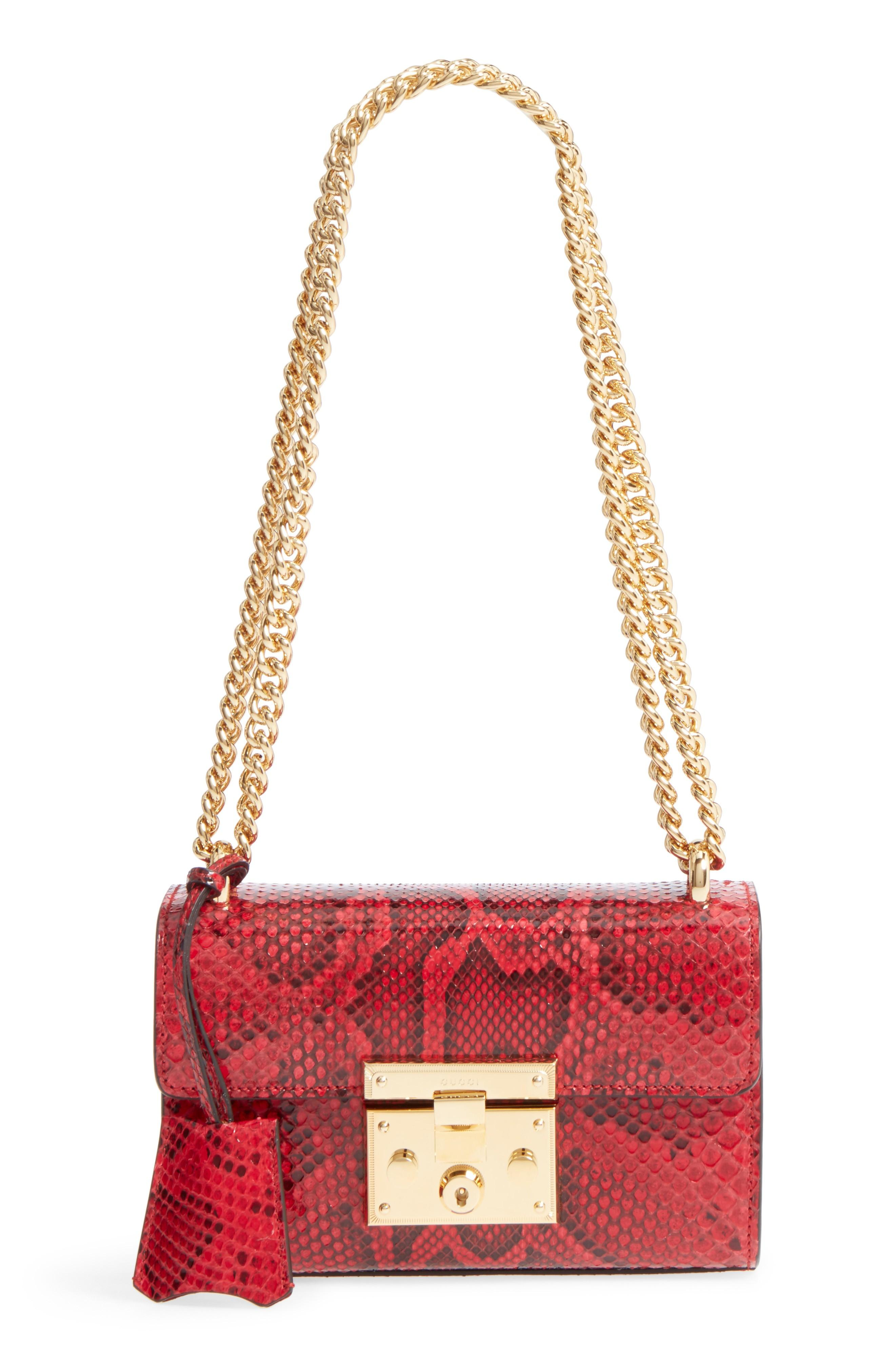 f313faab54095 Gucci Small Padlock - Genuine Python Shoulder Bag - Red In Hibiscus ...