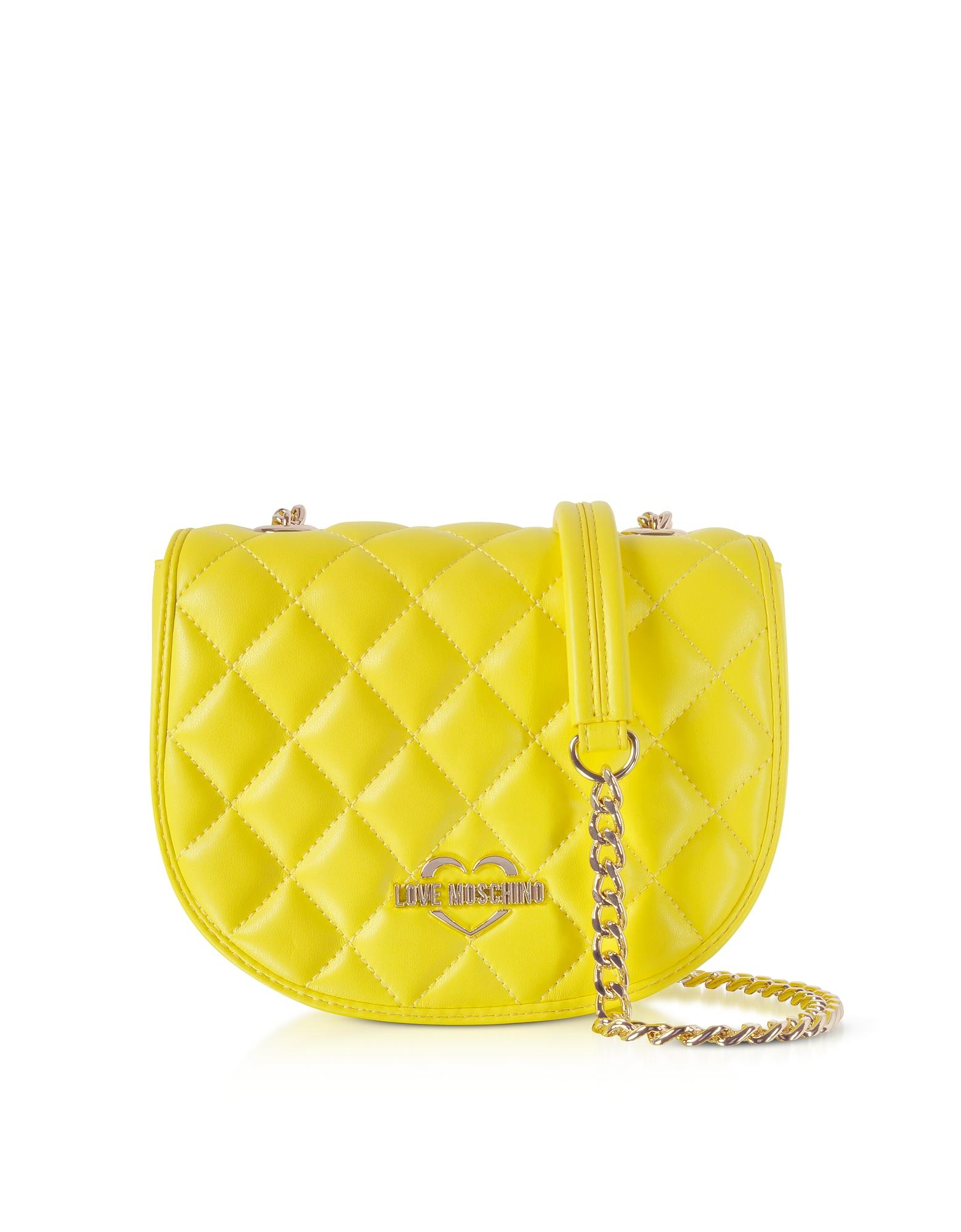 99d49bafcc Love Moschino Yellow Superquilted Eco-Leather Small Crossbody Bag ...