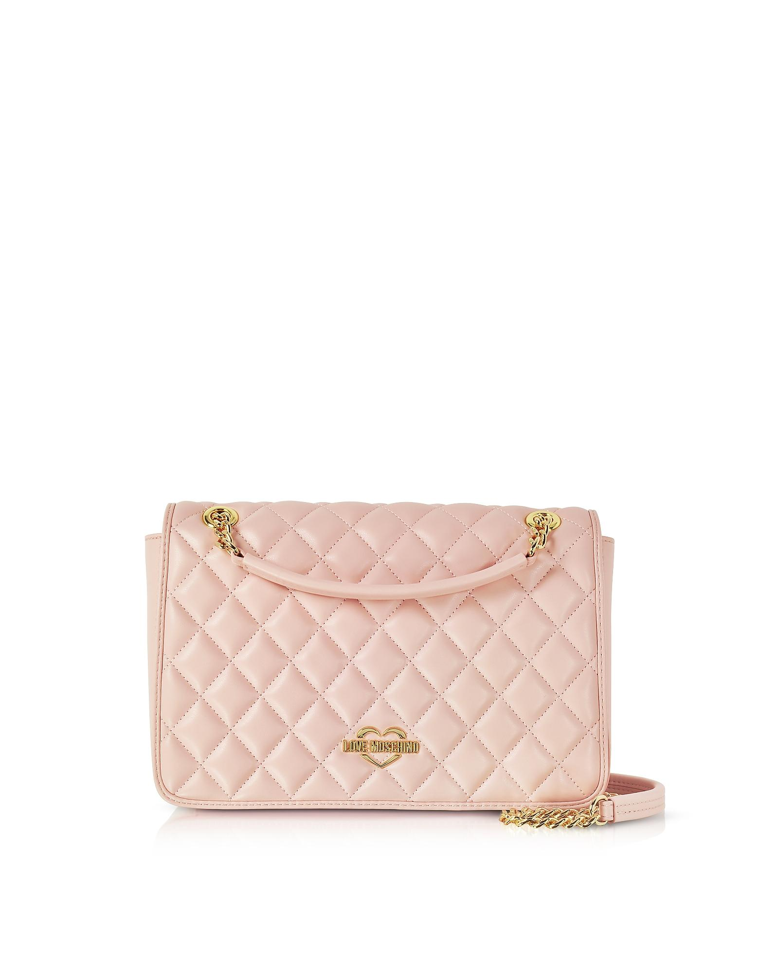 ebd4d8ce45 Love Moschino Pink Superquilted Eco-Leather Shoulder Bag | ModeSens
