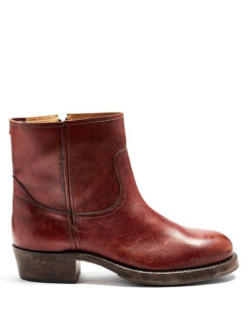Maison Margiela Replica Leather Ankle Boots In Burgundy-Red