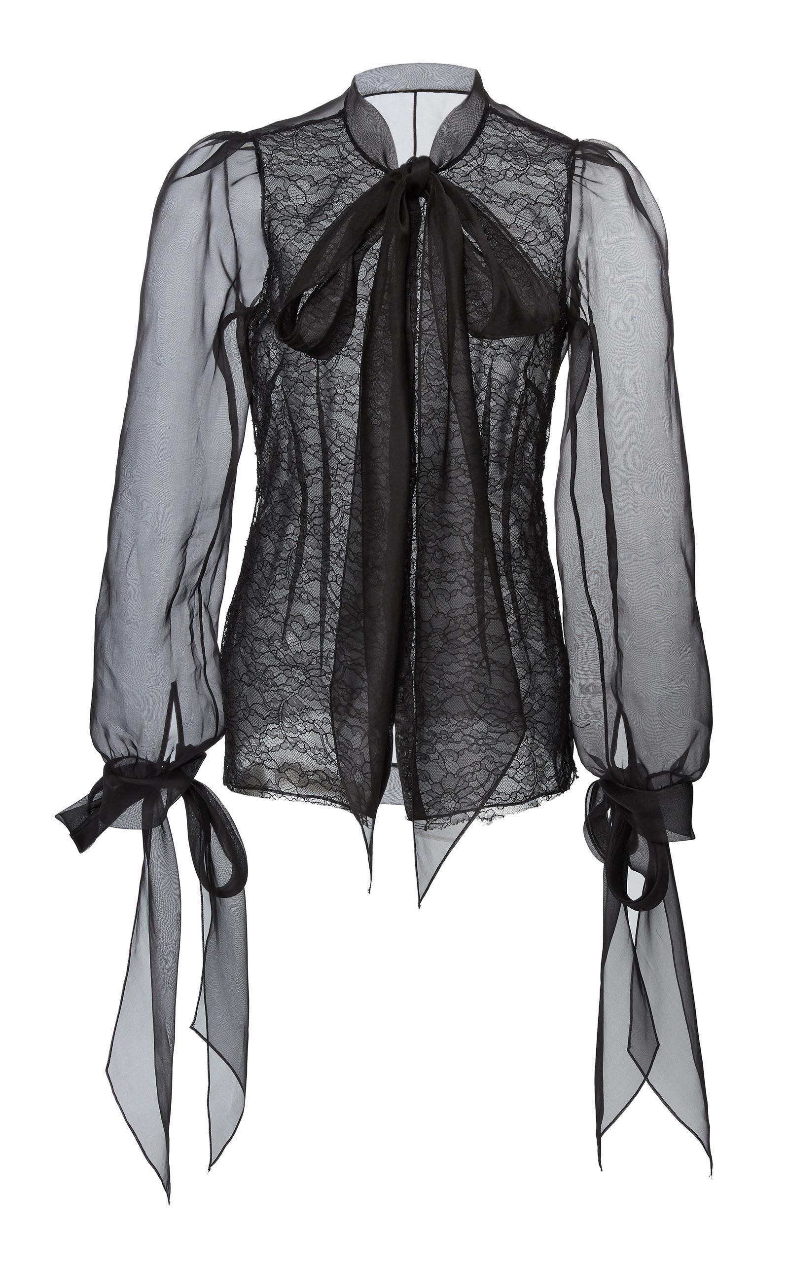 79369aea7268a Marchesa Pussy-Bow Silk Organza Blouse In Black