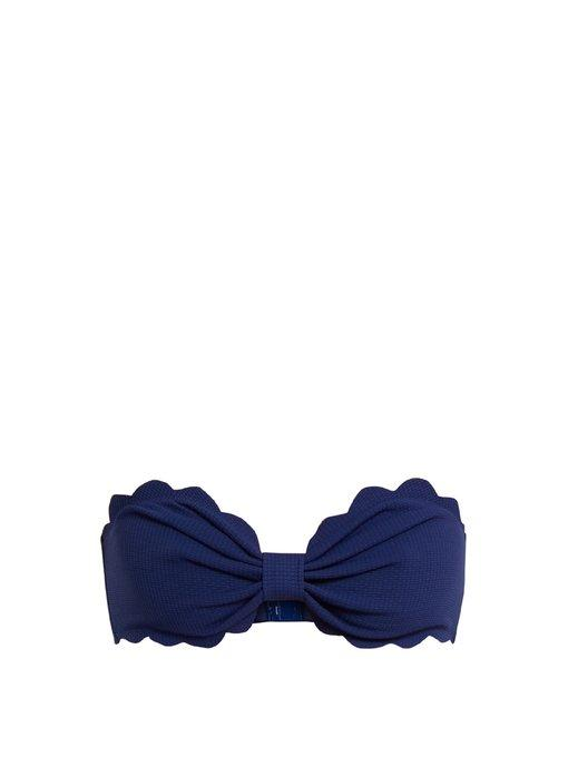 Marysia Antibes Scalloped-Edges Bandeau Bikini Top In Navy