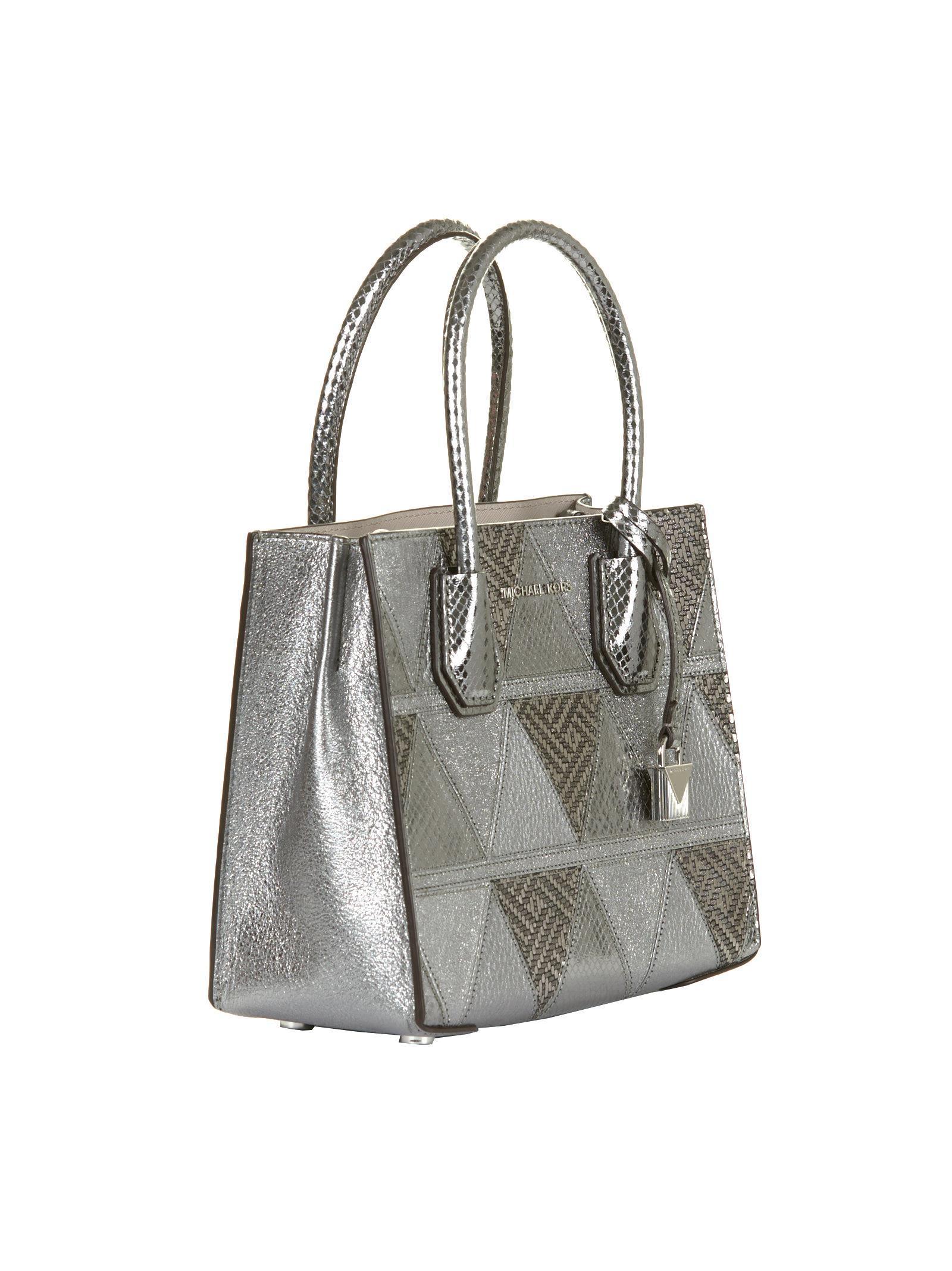 Michael Kors Mercer Metallic Patchwork Crossbody Bag In Silver