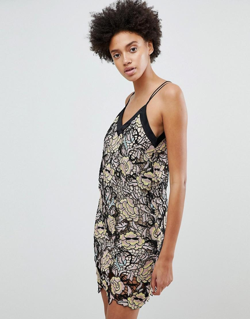 N12H Midnight Blooms Lace Slip Dress - Gold