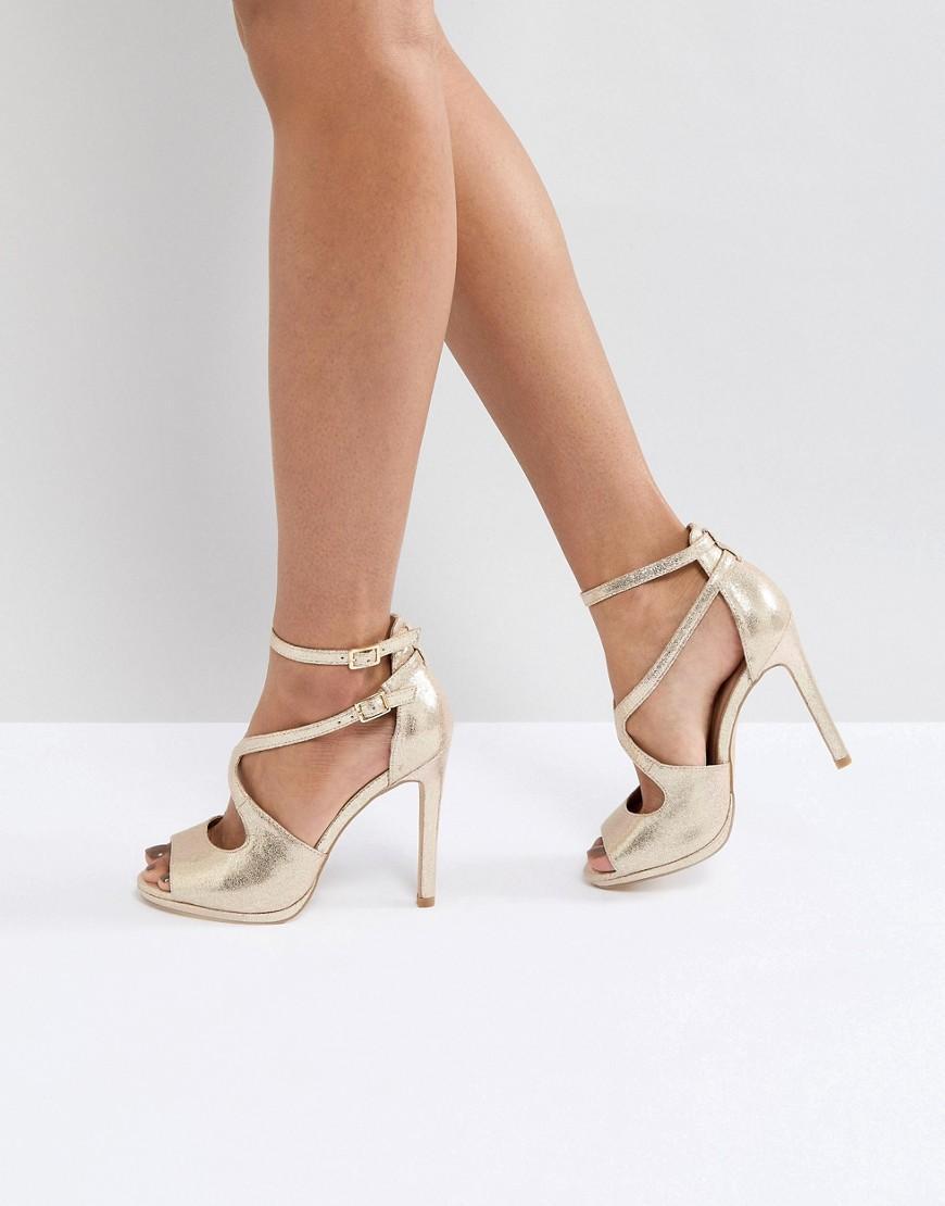 273f609754128 New Look Metallic Asymmetric Sandal - Gold   ModeSens