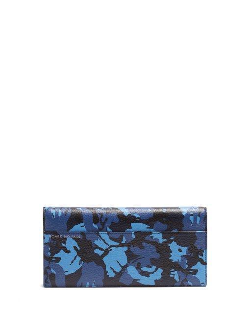 Smythson Burlington Grained-Leather Travel Wallet In Blue Multi