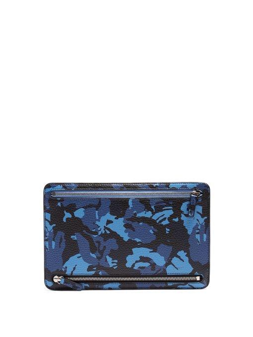 Smythson - Burlington Grained Leather Currency Wallet - Mens - Blue Multi