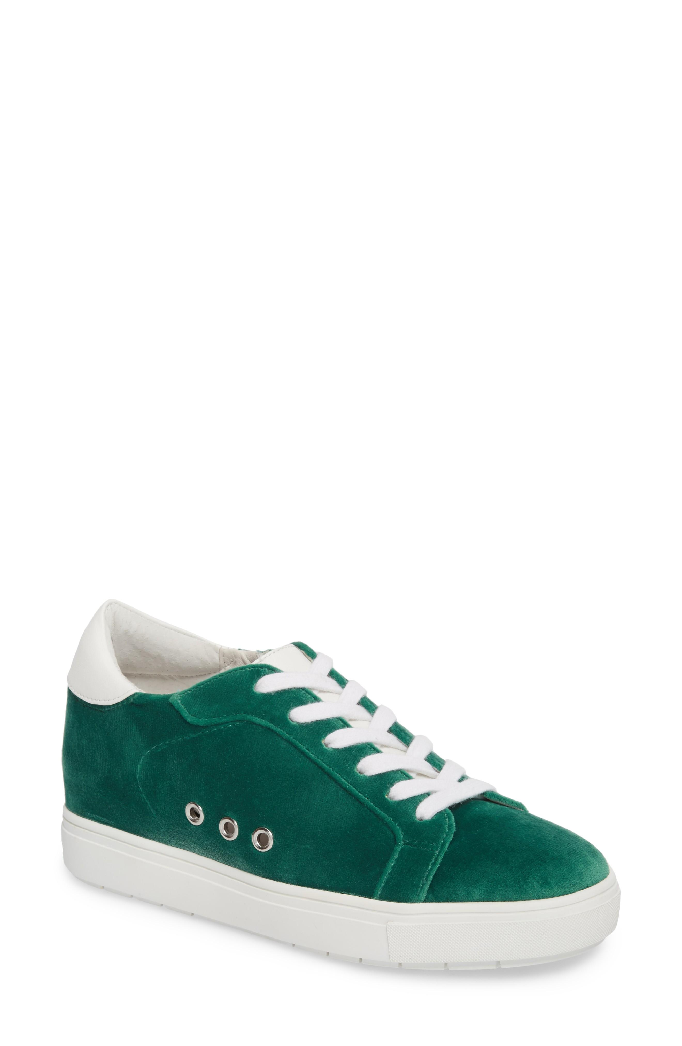 4a782fc23f5 Steve Madden Steal Concealed Wedge Sneaker In Green Velvet