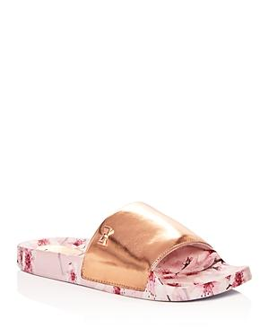 cc36fb5c4b11f4 An eye-catching painterly print adds understated elegance to a versatile slide  sandal. Style Name  Ted Baker London Aveline Sandal (Women).