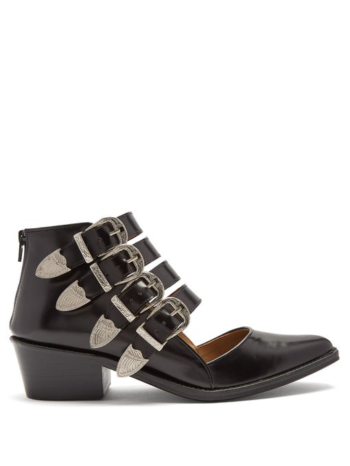 Toga Point-toe Cut-out Leather Ankle Boots In Black