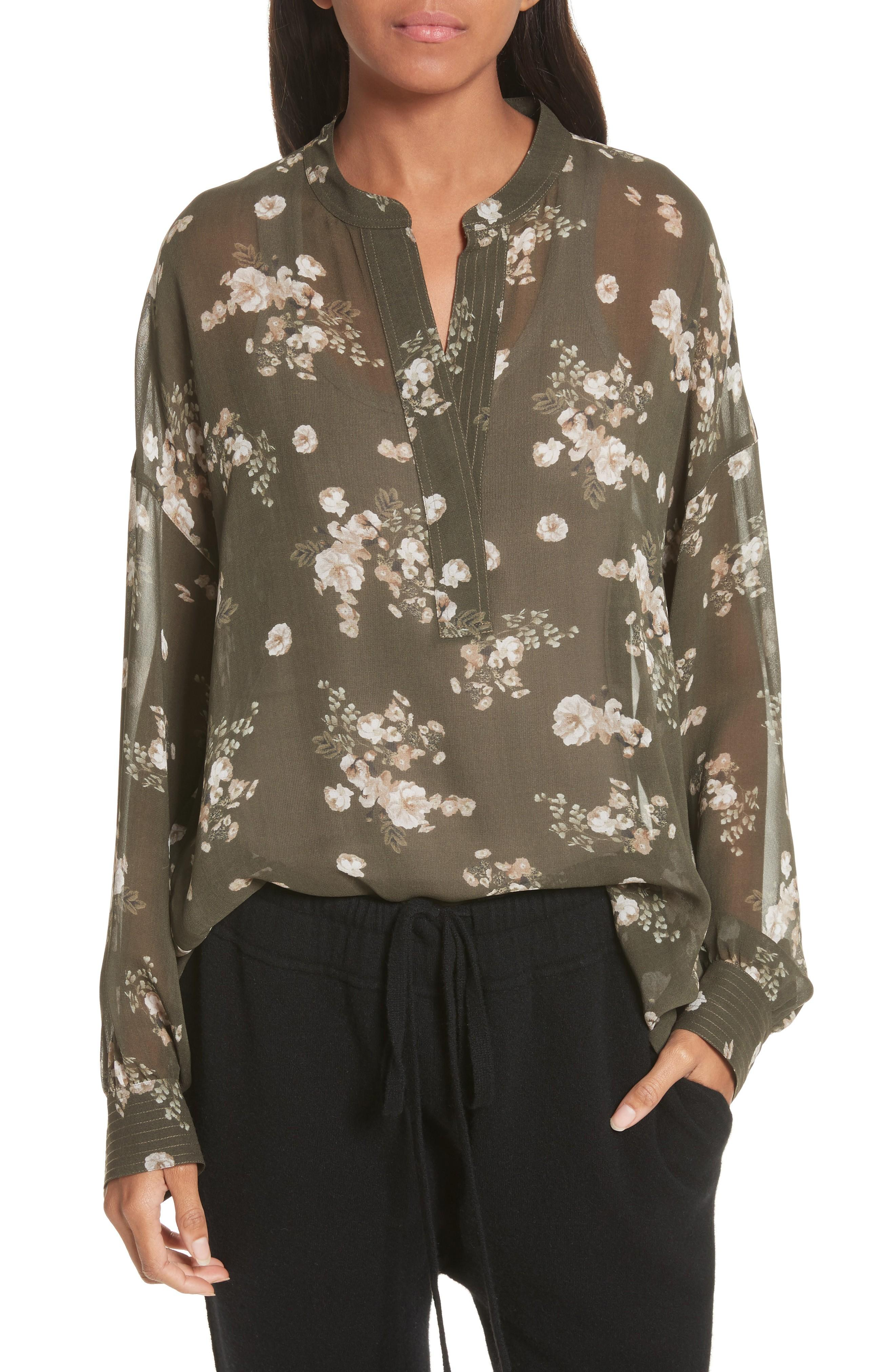 46c894344dd6eb Vince Shirred Floral Silk Blouse In Olive
