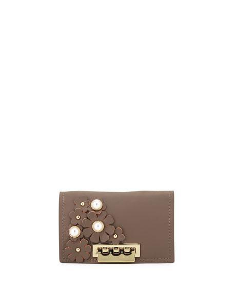 Zac Zac Posen Earthette Leather Card Case In Gray