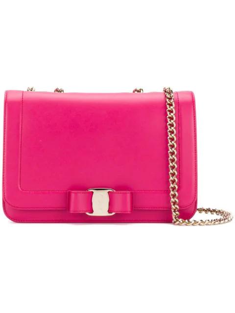 Salvatore Ferragamo Vara Flap Shoulder Bag In Pink
