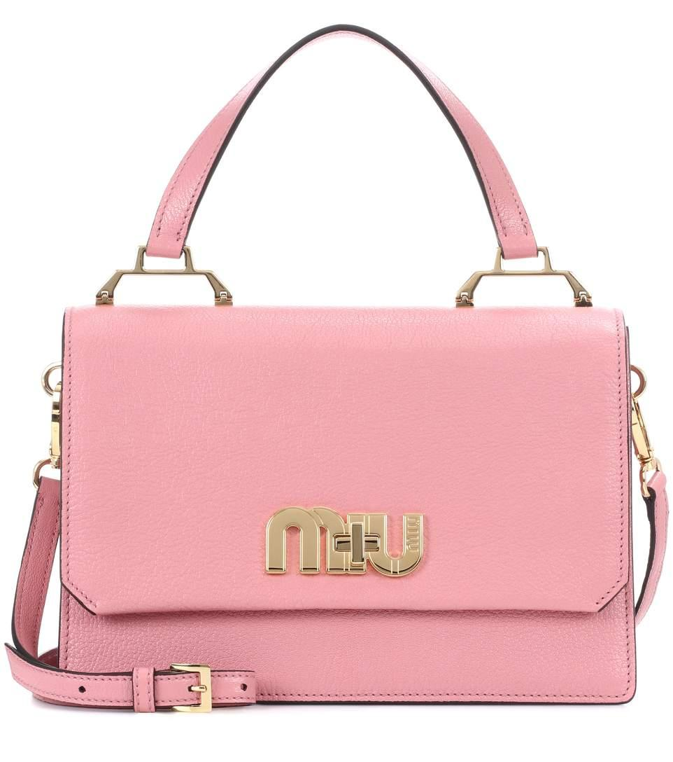Miu Miu Leather Shoulder Bag In Pink