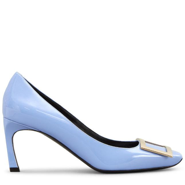 307b55a19 Roger Vivier Belle Vivier Trompette Pumps In Patent Leather In Light Blue